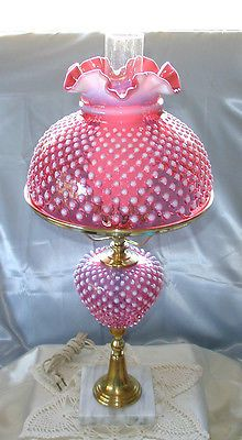 Minty Vintage 50s Prelogo Fenton Glass Cranberry Opalescent Hobnail Huge 25 Lamp Fenton Lamps Fenton Glass Old Lamps