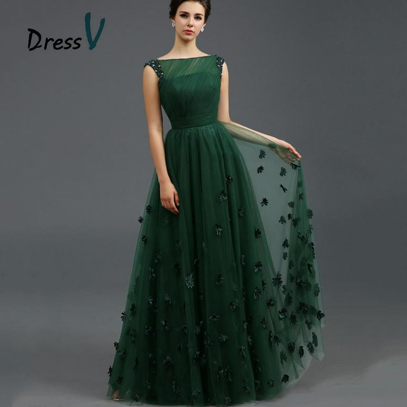 Vintage-Dark-Green-Tulle-Evening-Dresses-2015-Sexy-A-Line-Beads ...
