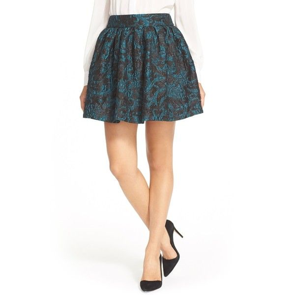 alice + olivia Stora Pleated Pouf Skirt (€75) ❤ liked on Polyvore featuring skirts, brocade skirt, alice olivia skirt, knee length pleated skirt, going out skirts and white knee length skirt