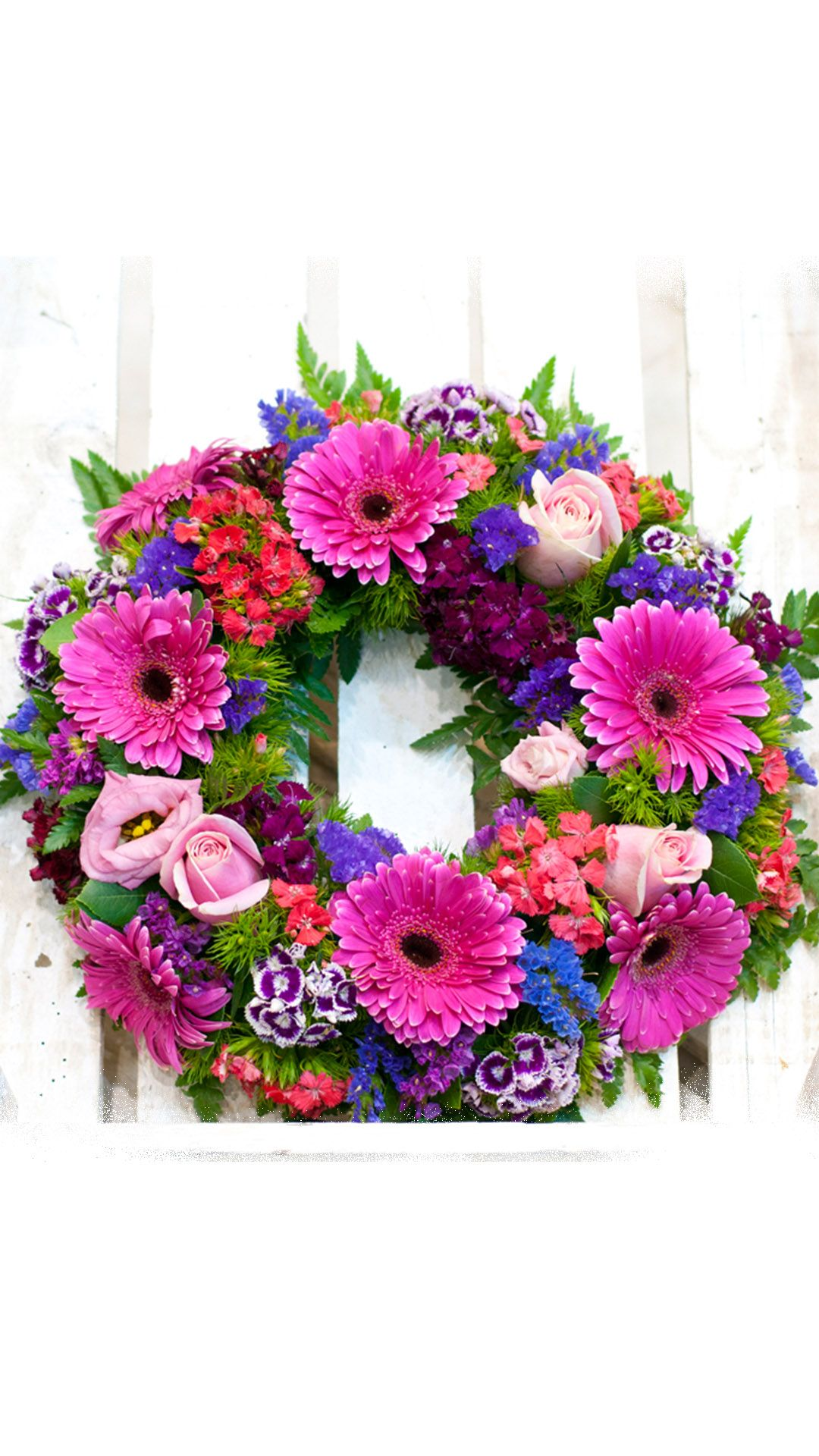 Flower Composition In Pink Fuchsia Shades Amaranthus Gerberas Dianthus And Roses Stefan Funeral Flower Arrangements Funeral Flowers Flower Arrangements