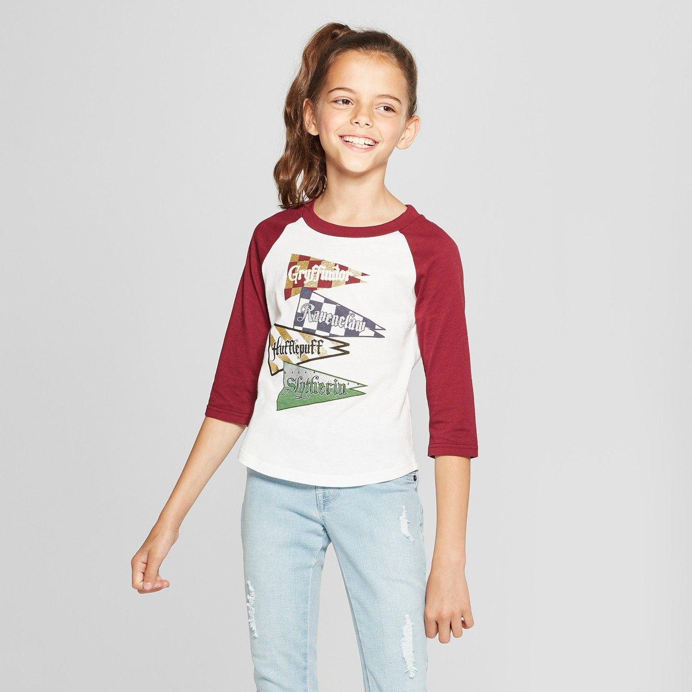 92aafb67a4740 Girls  Harry Potter 3 4 Sleeve Raglan T-Shirt - White Burgundy XL  Potter