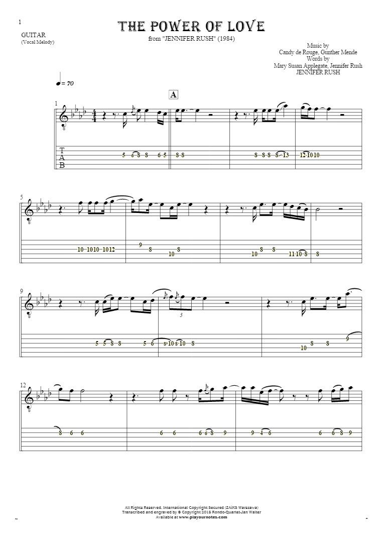 The Power Of Love Notes And Tablature For Guitar Playyournotes Tablature The Power Of Love Classical Guitar Sheet Music