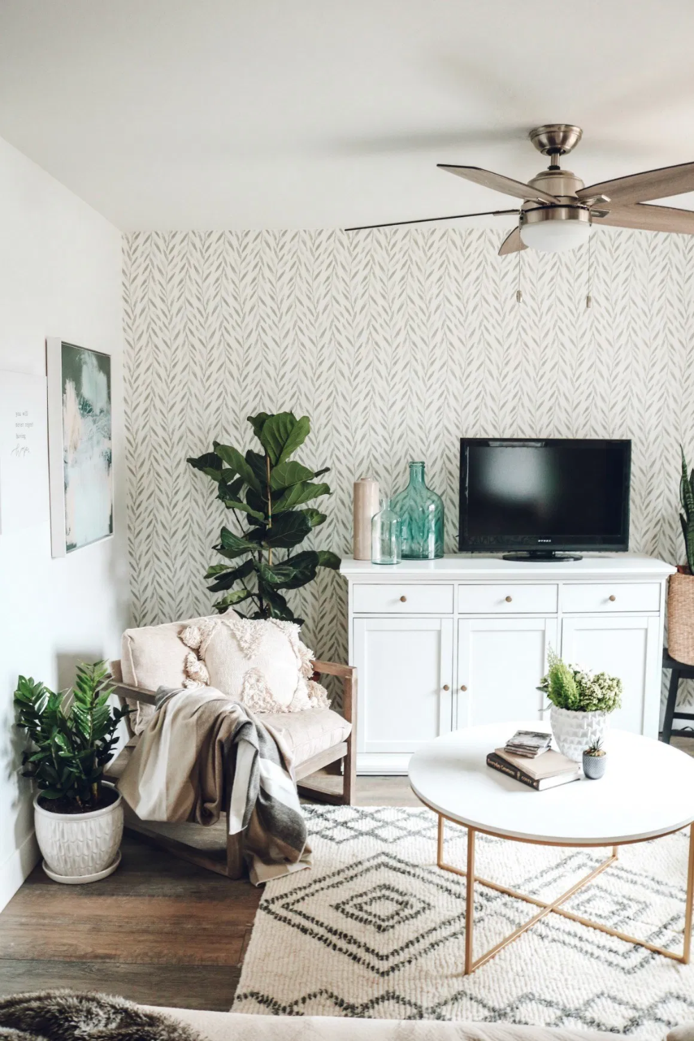 Mini Affordable Living Room Update With Joanna Gaines Wallpaper Nesting With Grace Living Room Update Living Room Green Affordable Living Rooms