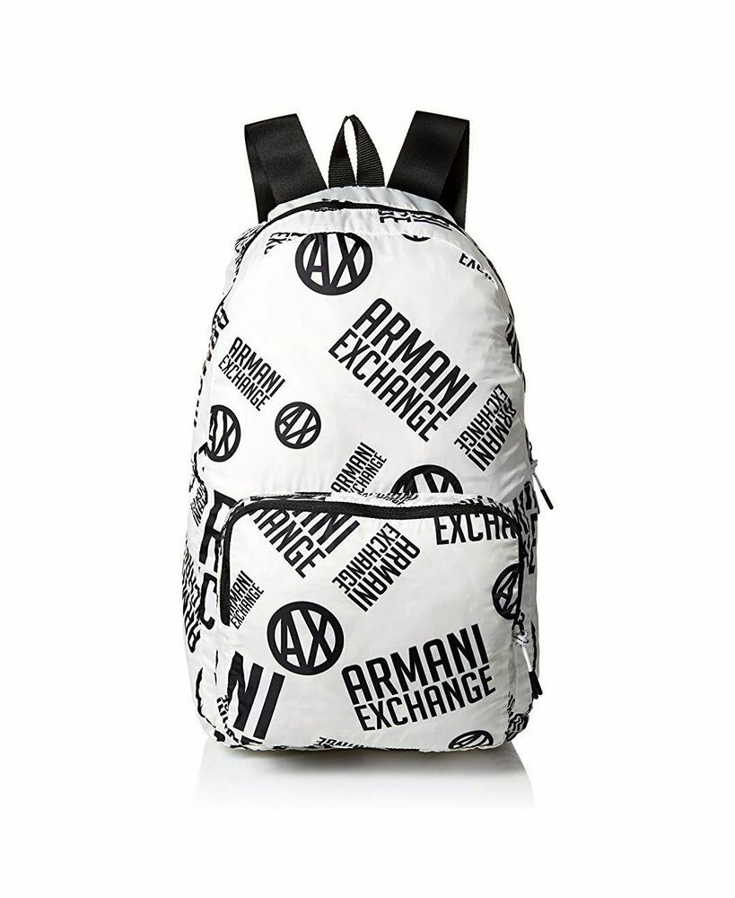 88555669b029 Armani Exchange Men's Printed Logo Backpack Bianco Nero White And ...
