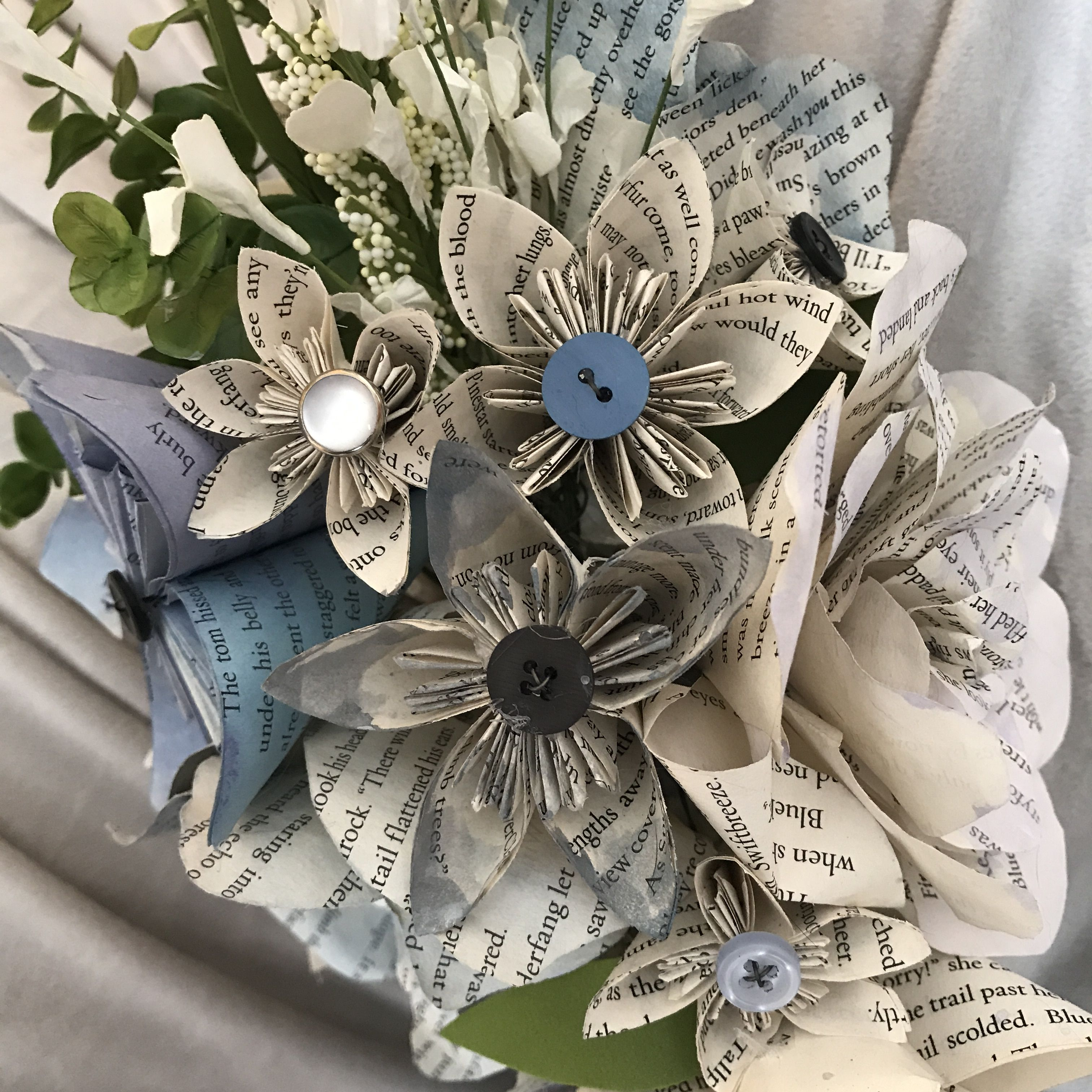 Wedding Bouquet With Handmade Flowers Made From Recycled Book