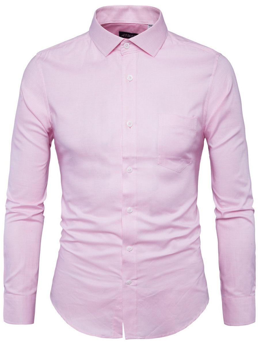 Gingham Turn Down Collar Men Shirt With Pocket Men Shirts Gingham