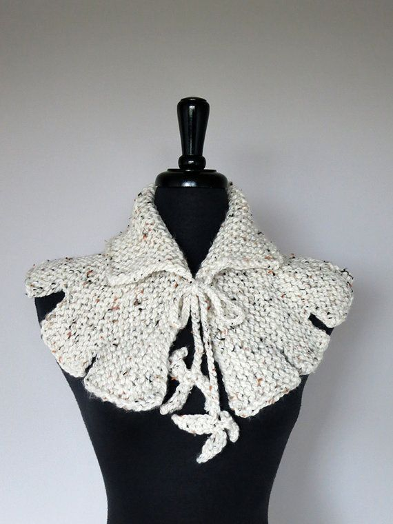 Off White Tweed Color Acrylic Yarn Capelet Cape Collar Cowl Gaiter ...