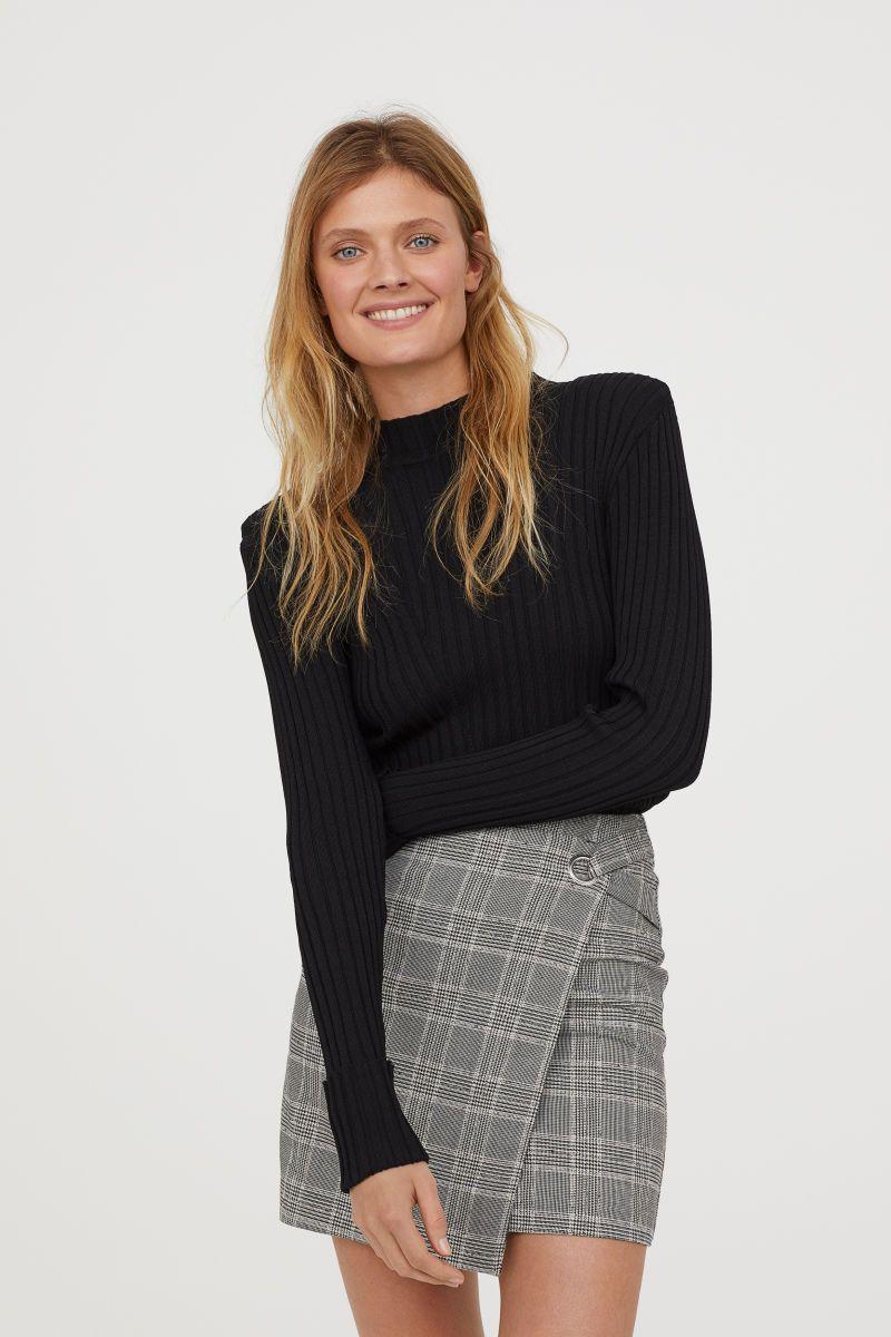 7f92e2029e Wrapover Skirt | White/houndstooth patterned | WOMEN | H&M US ...
