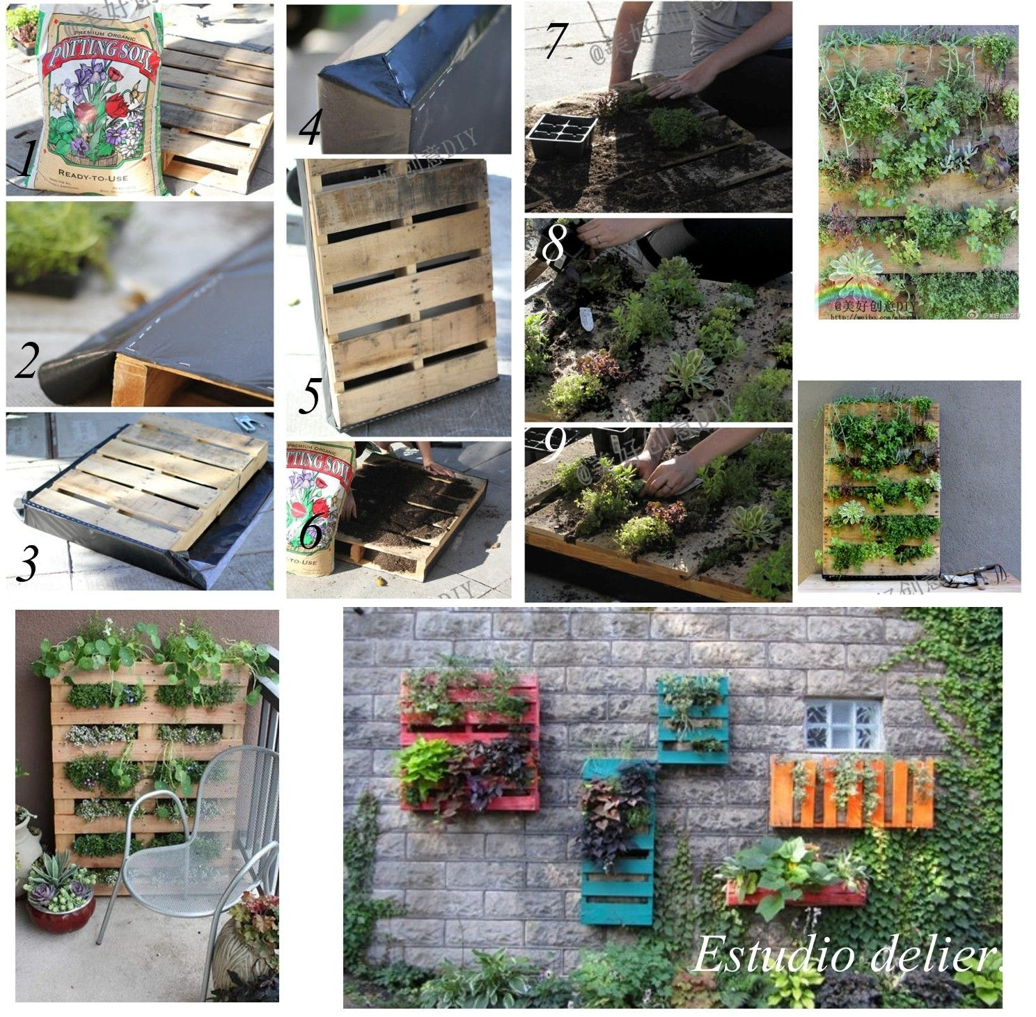 Hacer un jard n vertical con palets decoracion - Jardines verticales con palets ...