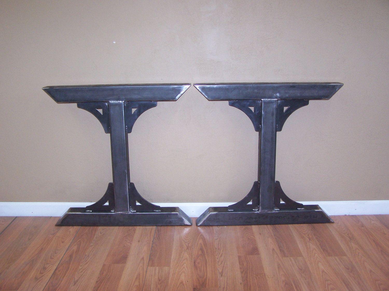 Dining tables gerrit industrial style rustic pine iron dining table - Industrial Factory Style Heavy Duty Steel Tube Legs Dining Table Pedestal Base