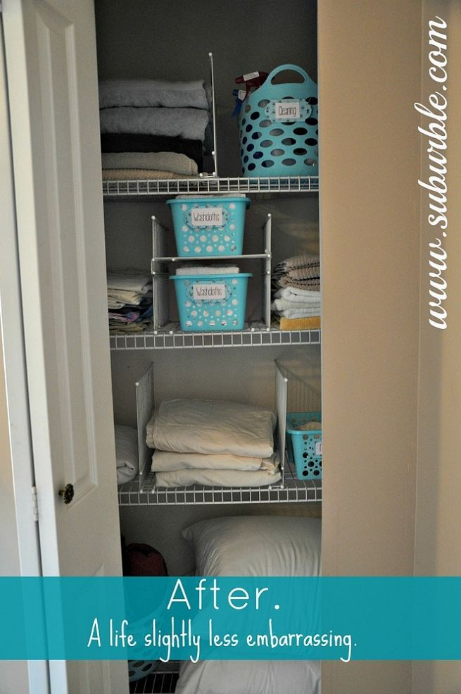 This hack will keep your linen closet organized for good! | Shelf ...