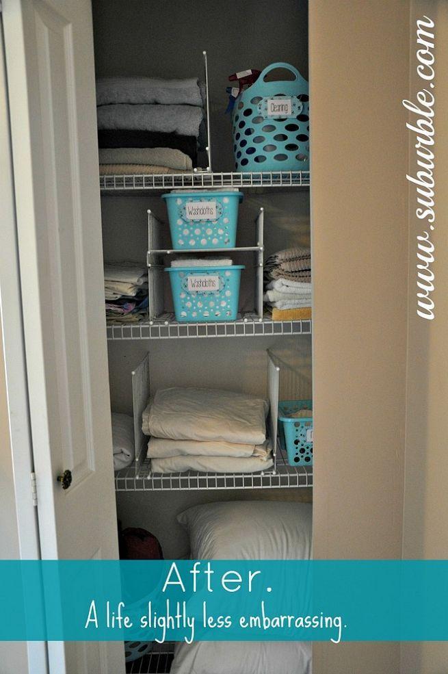 Diy Wire Shelf Dividers Linen Closet Organization Linen Closet