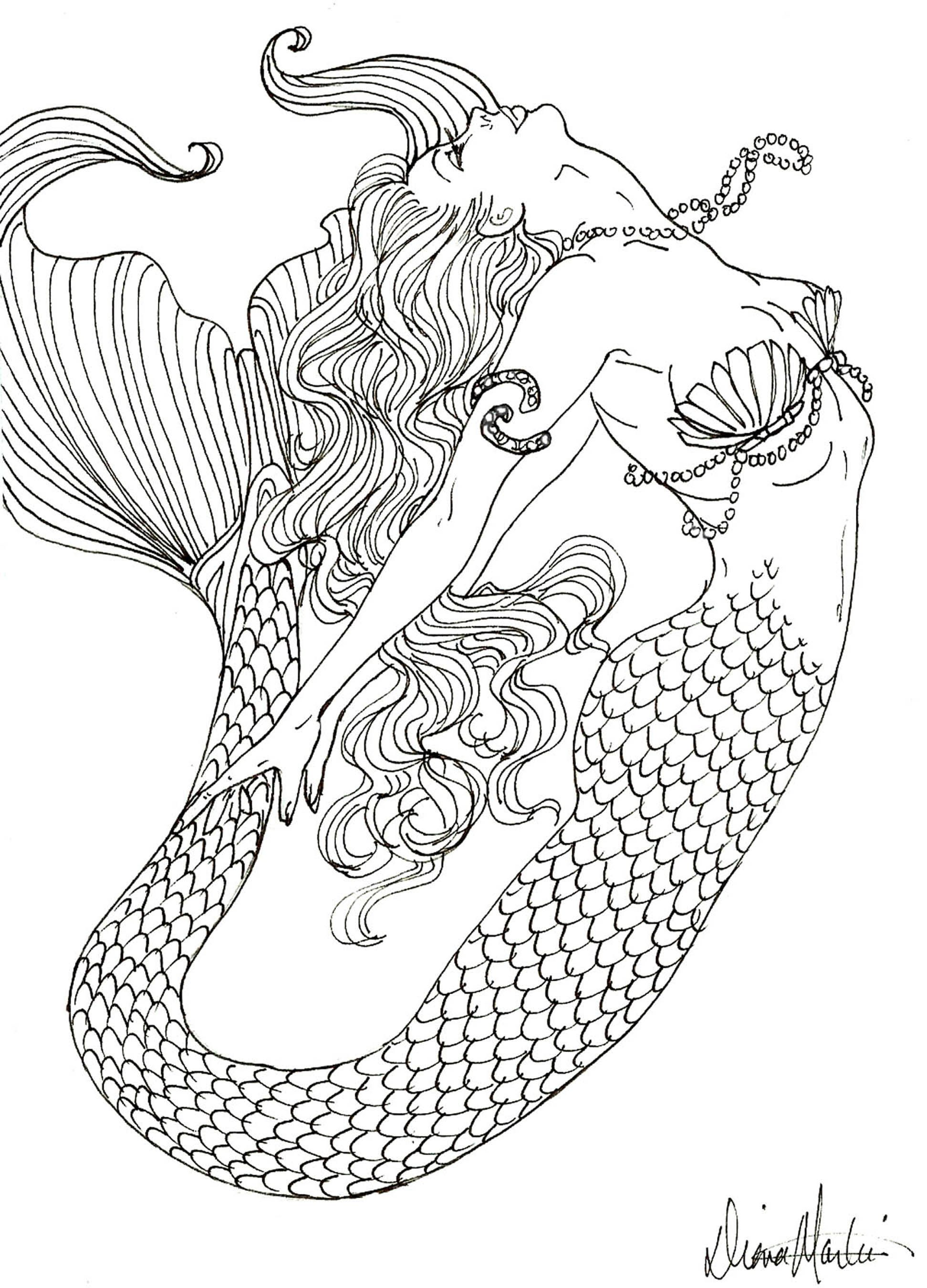 realistic mermaid coloring pages for adults tagged with detailed ...