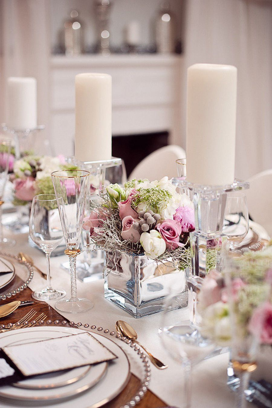 Daily wedding inspiration 48 swoon worthy wedding for Glass tables for wedding reception