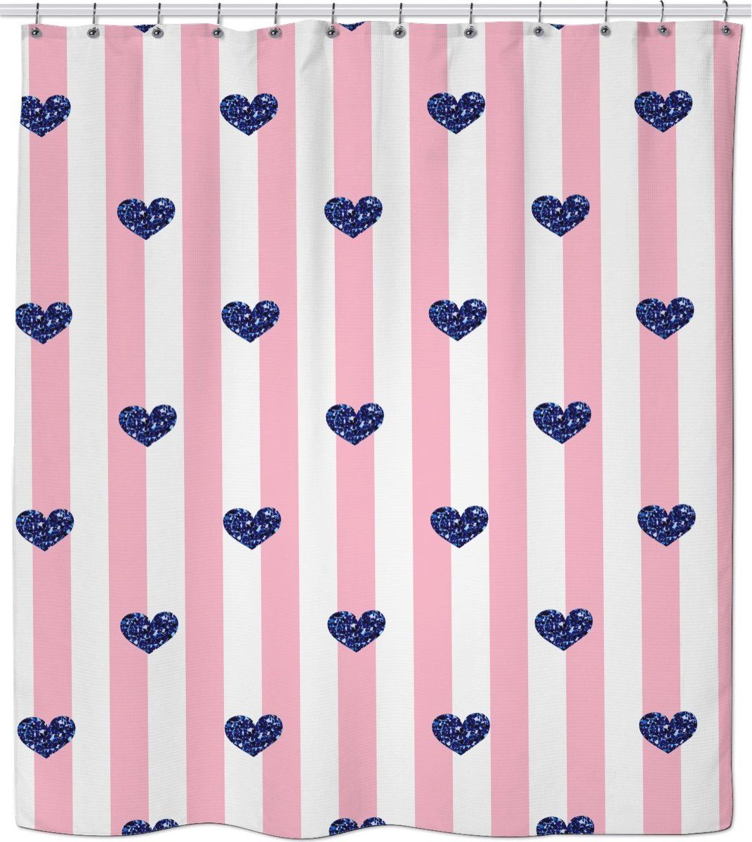 ROSC Pink Stripes And Blue Hearts Shower Curtain My Etsy Shop Curtains