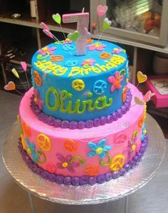 2 tier round birthday cake for 7yearold girl in bright pink and