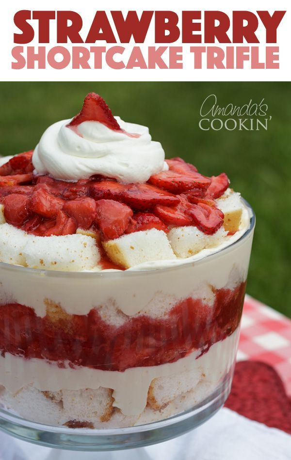 My Strawberry Shortcake Trifle made with angel food cake is reminiscent of the famous cake, in that it uses a macerated strawberry sauce with the addition of fresh strawberries, and a delicious whipped cream and cream cheese layer, all stacked together in a trifle bowl with sweet angel food cake. #trifle #trifledesserts #creamcheesedesserts #summerdessert #strawberryshortcake #potluckdesserts #bbqdesserts #strawberrydesserts #angelfoodcakedesserts #trifledesserts