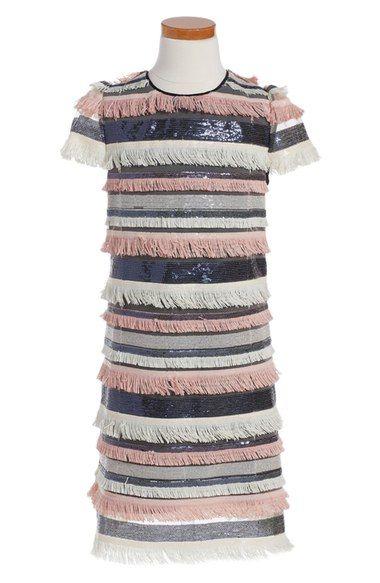97436863 Milly Minis 'Chloe' Stripe Sequin & Fringe Shift Dress (Big Girls)  available…