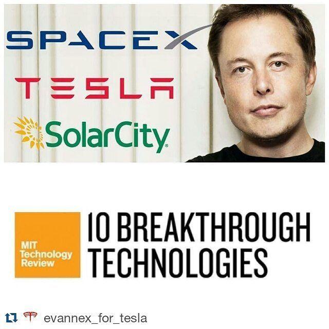 Adam On Instagram Repost Evannex For Tesla An Elon Musk Trifecta Tesla Solarcity And Spacex Make It Into Mit S Top 10 Te Tesla Tesla Model X Tesla Owner