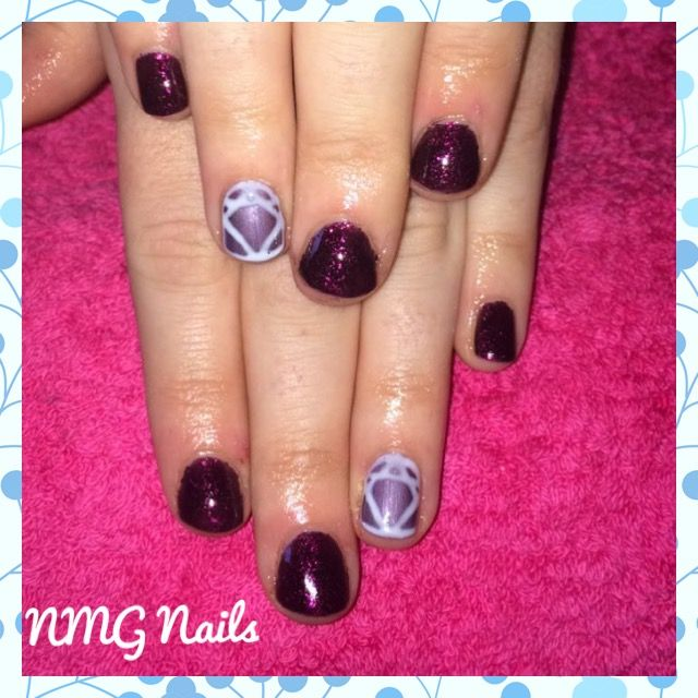 Dark gel polish winter colours. Deep purple sparkle with mauve and ...