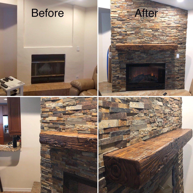 Fireplace Mantel Rustic Distressed Wood Floating Shelf Custom