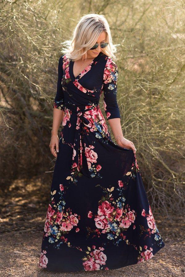 d51d70e1bab7 Floral Luxury Maxi Wrap Dress