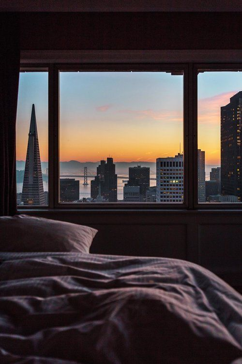 Views from bed in the Presidential Suite. Famous hotels in San Francisco: The Fairmont SF, the best luxury hotel in San Francisco! #sanfrancisco #sf #bayarea #luxuryhotels #fairmontmoments    city apartment, decor, new york, aesthetic, small, living room, cozy, brick walls, decorating, small apartment living, ideas, tiny apartment