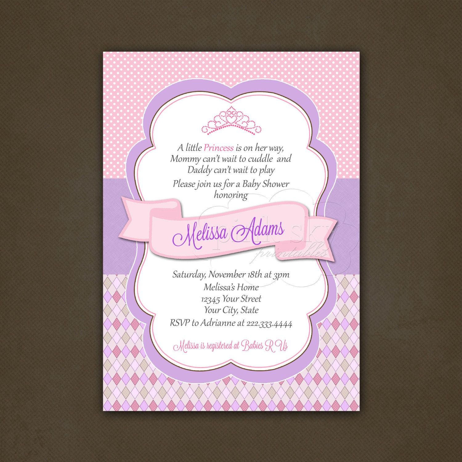 cricut little princess baby shower invitation by