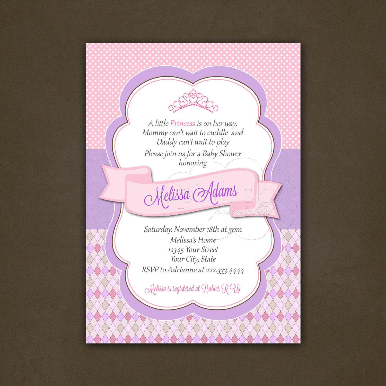 Little Princess Baby Shower Invitation Printable File, Girl Baby ...