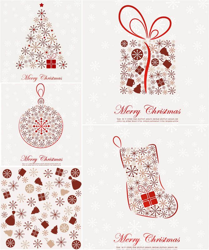 Merry christmas elegant. Stylized cards vector free