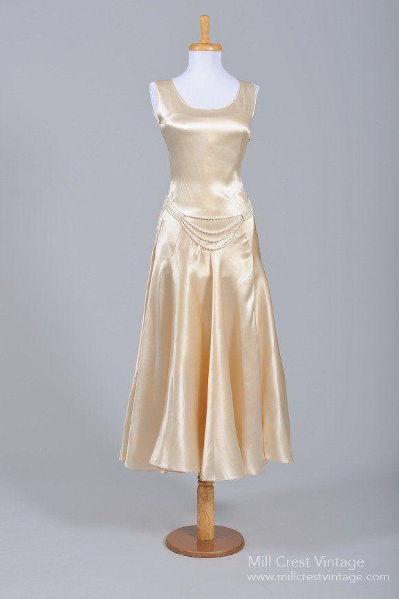 1930 Champagne Satin Vintage Wedding Dress