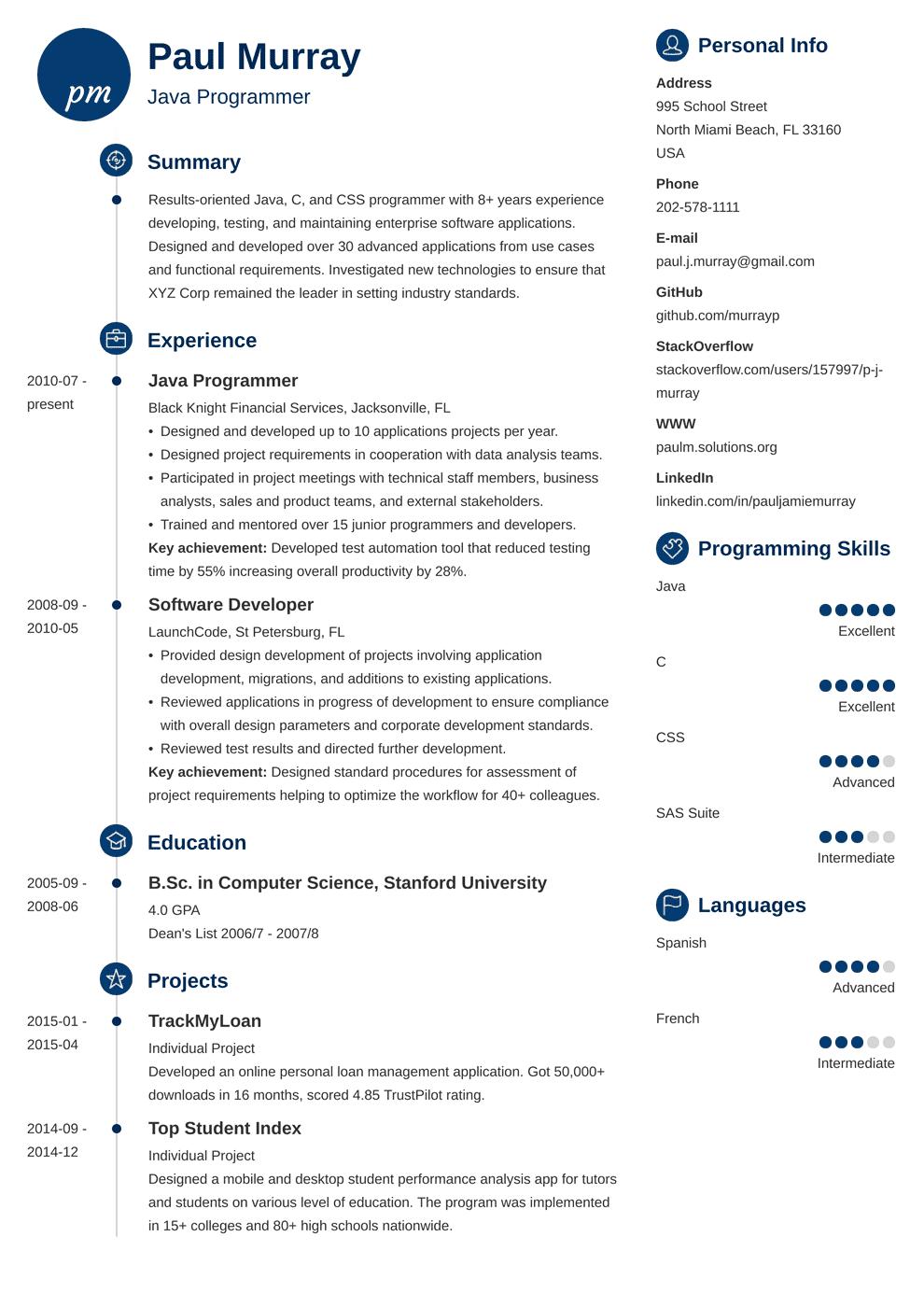 Programmer Resume Template Primo Resume Examples Job Resume Examples Resume Skills Section