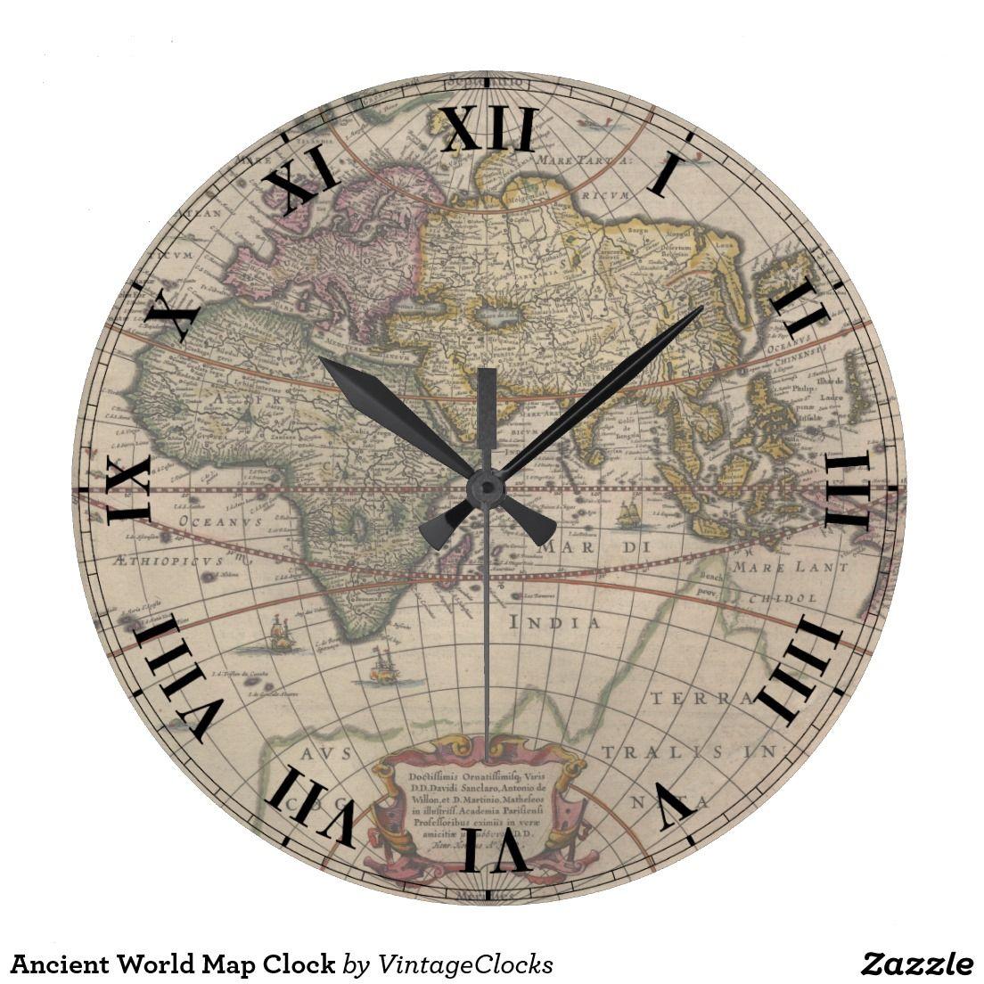 Ancient world map clock world clock and world maps ancient world map clock gumiabroncs Image collections