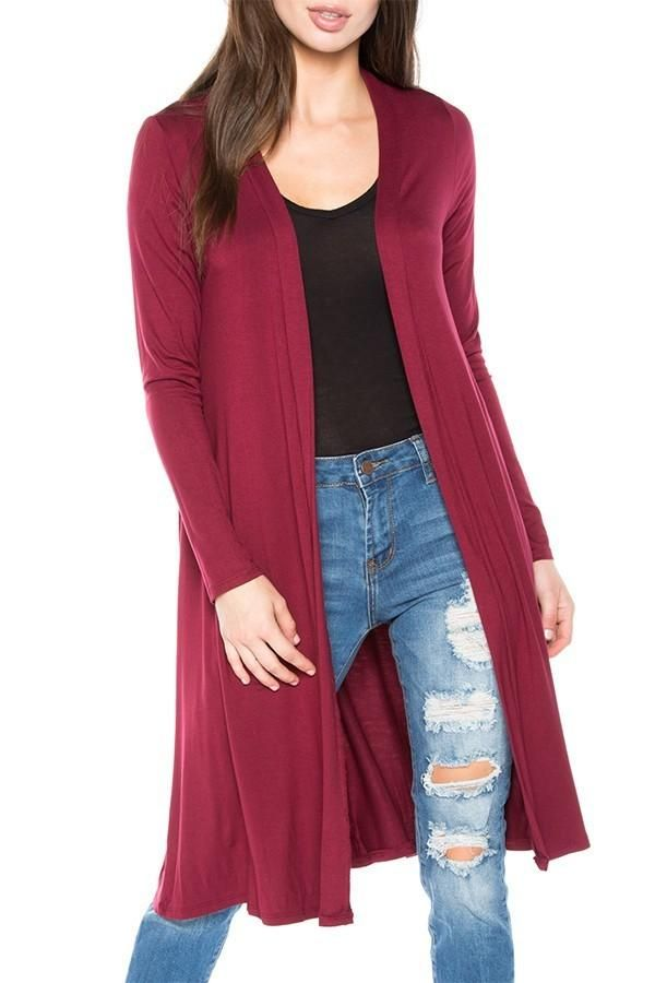 17c41a6fe4ec4 Women s Solid Maroon Long Cardigan No Pockets