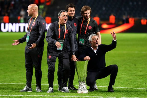 Manchester United Manager Jose Mourinho Celebrates With The Trophy Follo Manchester United Champions Manchester United Football Club Manchester United Football
