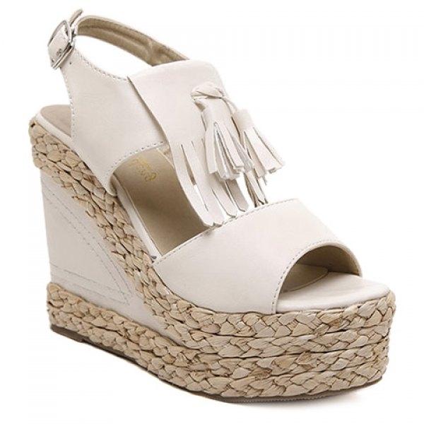 Trendy Tassels and Weaving Design Sandals For Women USD