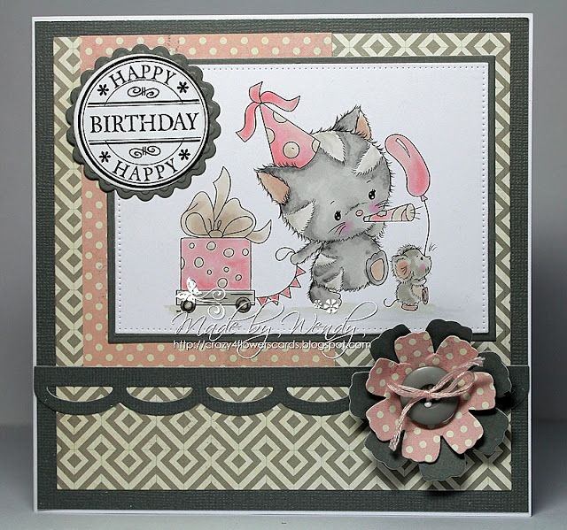 Crazy4flowers cards: Di's Digi Stamps -  Kitty Celebrations