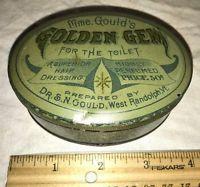 ANTIQUE MME GOULDS GOLDEN GEM FOR THE TOILET HAIR DRESSING TIN LITHO CAN SALON