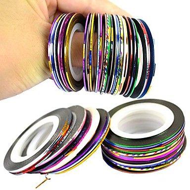 30pcs gemengde kleuren rolt striping tape lijn nail art decoratie sticker - EUR € 2.90