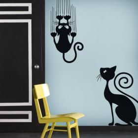 Vinilos decorativos adhesivos y pegatinas gatos for Stickers decorativos