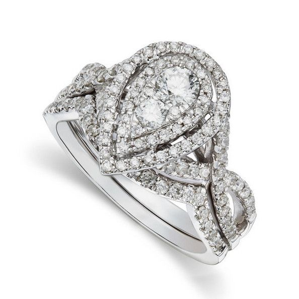diamond rings ctw round and pear shape bridal set wedding rings - Pear Shaped Wedding Ring Sets