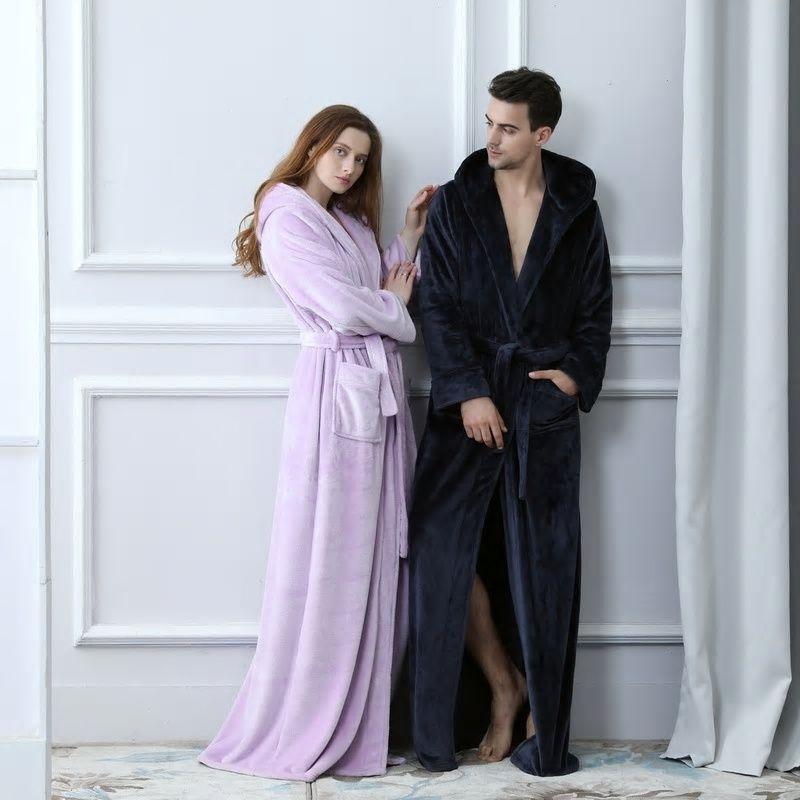 Lovers Plus Size Flannel robe Hooded extra Long Warm Bathrobe Men Women  Thick Winter Kimono Bath Robe Male Dressing Gown Robes 33e69b611