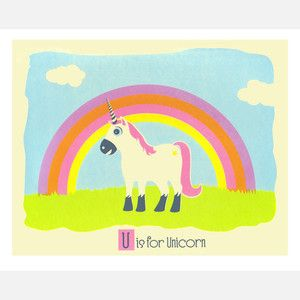 U is for Unicorn 14x11, now featured on Fab.