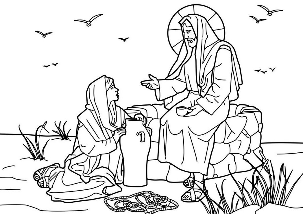Coloring Picture Jesus Christ The Samaritan Woman Well 463037