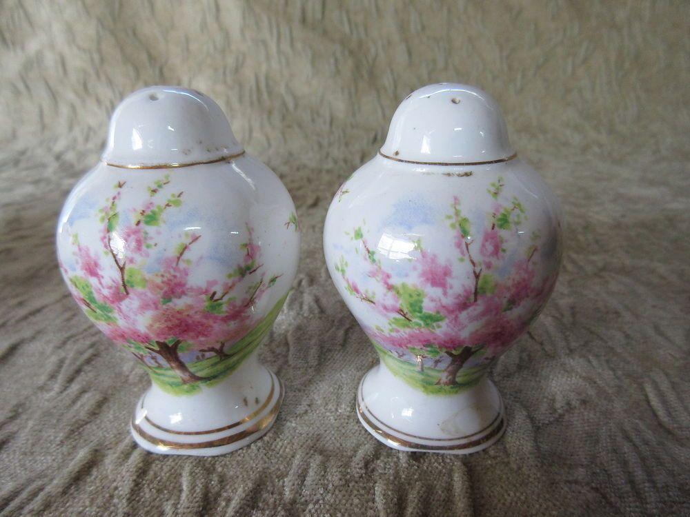 Pair of Old Royal Albert Blossom Time Salt & Pepper Shakers #RoyalAlbert