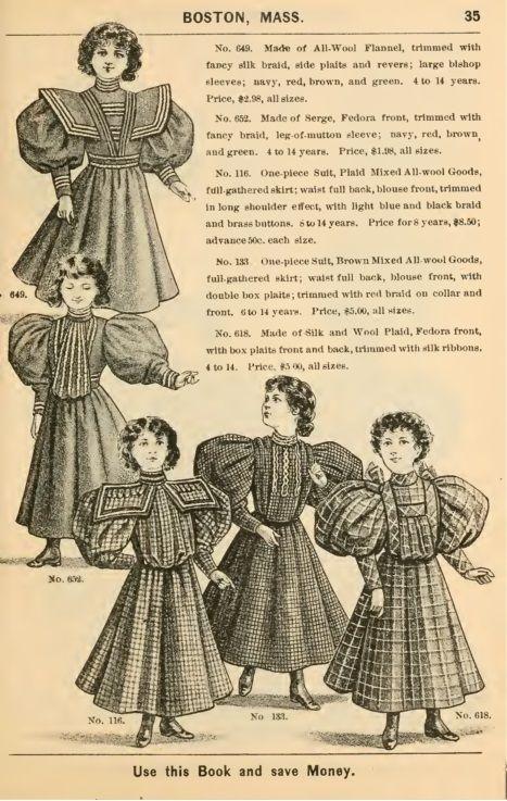 1895 Victorian girl's plaid dresses  | Victorian children's clothing #dollvictoriandressstyles