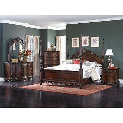 Dublin 5 Piece Cal King Poster Bedroom Set in Cherry — Bed, 2 ...