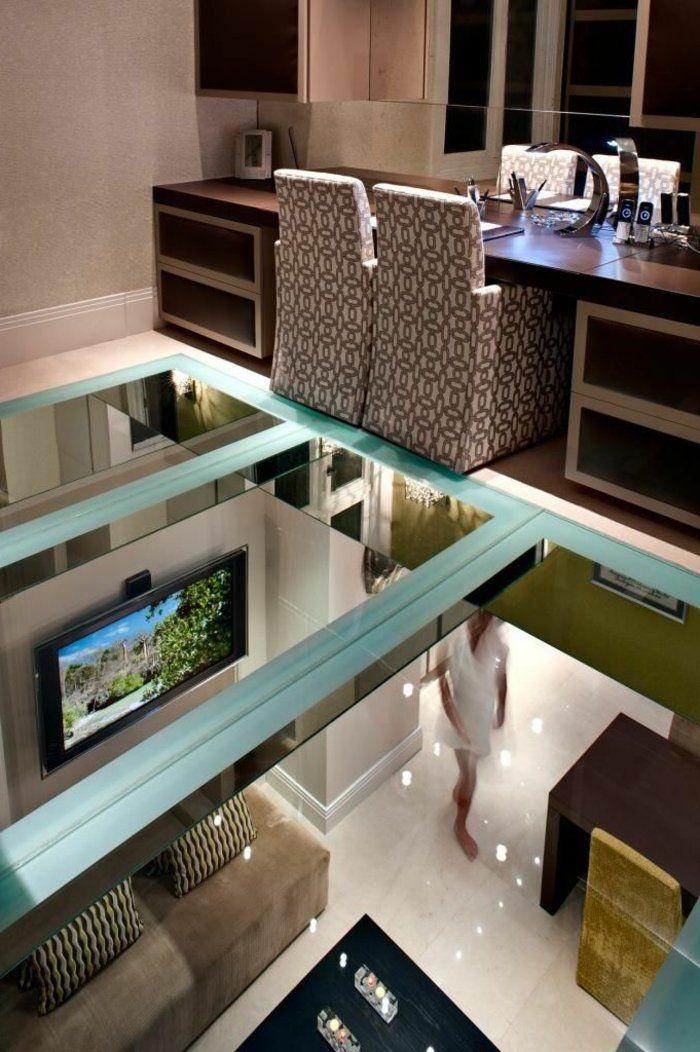 Transformez votre maison avec le plancher en verre! Loft ideas - plan salon cuisine sejour salle manger