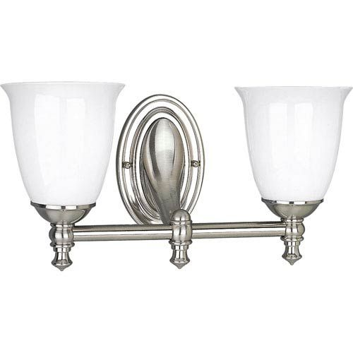 Photo of Progress Lighting P3028-09 P3028-09: Victorian bathroom lamp with two lights made of brushed nickel – brushed, early American | Bellacor