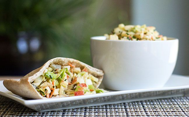Pita pockets with a cabbage apple slaw and green chile dressing #greenchile #slaw #pita | mjskitchen.com